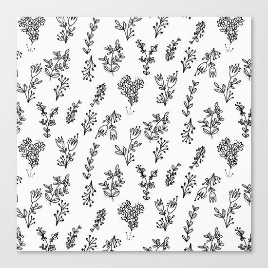 Floral White Pattern Canvas Print