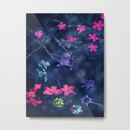 Pink, Blue Trailing Flowers Metal Print