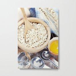 Fresh ingredients for oatmeal cookies Metal Print