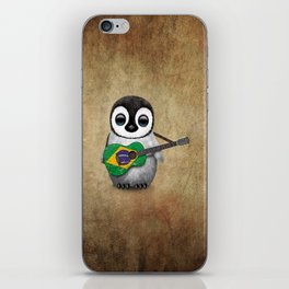 Baby Penguin Playing Brazilian Flag Acoustic Guitar iPhone Skin