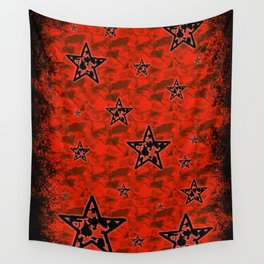 Red Toxic Stars Wall Tapestry