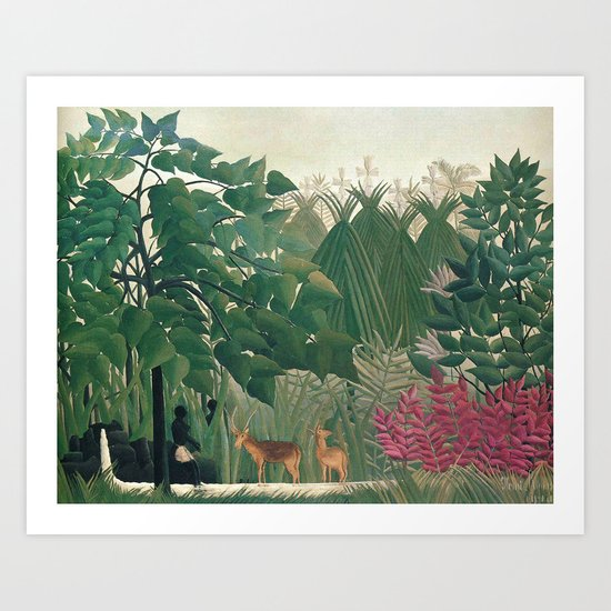 The Waterfall by Henri Rousseau 1910 // Jungle Waterfall Deer Indigenous People Flowers Plant Scene by a540lincolnave