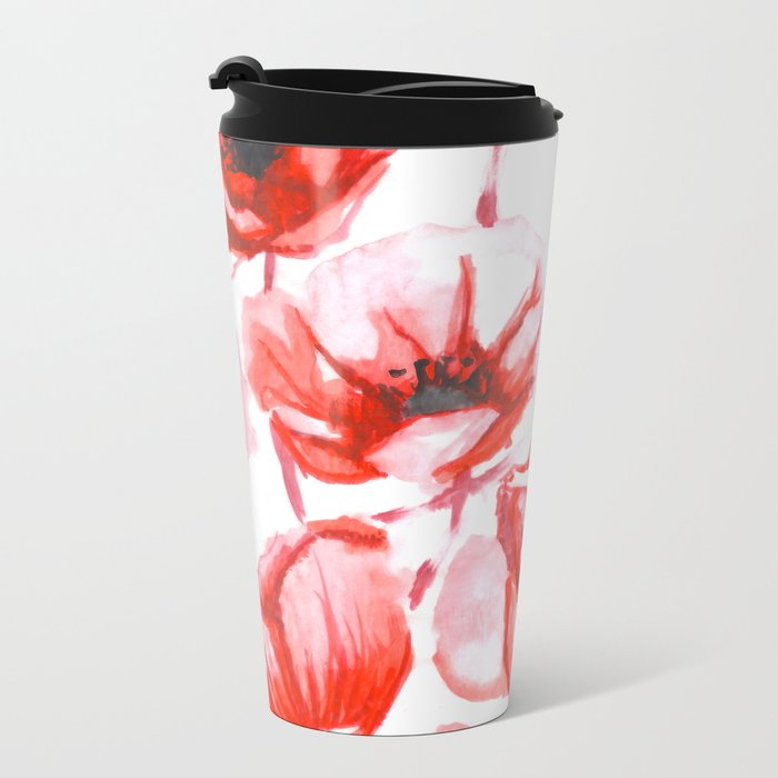 Flora Poppy Metal Travel Mug