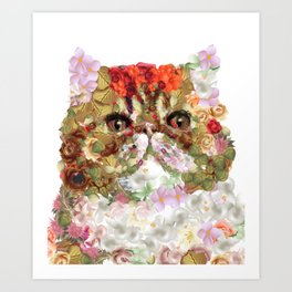 Portrait of a Persian cat, illustrated by hand painted flowers.DISCOVER Art Print