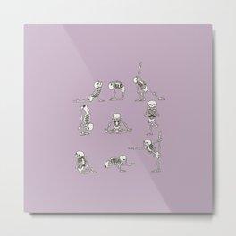 Skeleton Yoga_Lavender Frost Metal Print