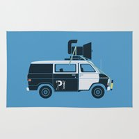 blues brothers Area & Throw Rugs featuring The Blues Brothers' Van by Brandon Ortwein