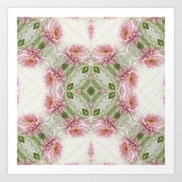 Pink Chrysanthemums Kaleidoscope Art 10 Art Print