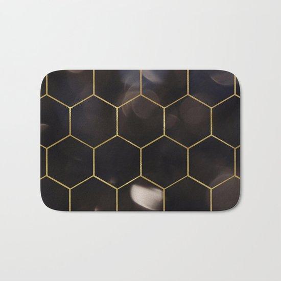 Dark bokeh gold hexagons Bath Mat