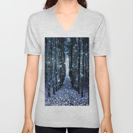 Magical Forest Teal Indigo Elegance Unisex V-Neck