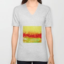 Vibrant Yellow Sunset Glow Textured Abstract Unisex V-Neck