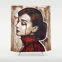 audrey Shower Curtains featuring Audrey  by Olechka