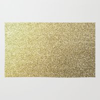 gold glitter Area & Throw Rugs featuring gold glitter by lamottedesign