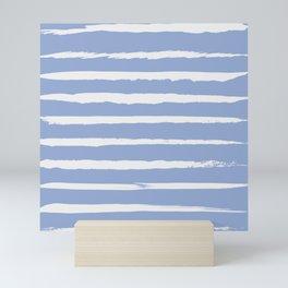 Irregular Hand Painted Stripes Light Blue Mini Art Print