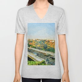 Catanzaro: view of the city and road Unisex V-Neck