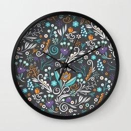 Flower circle pattern, brown Wall Clock
