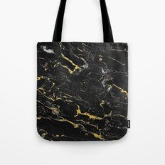 Gold Flecked Black Marble Tote Bag
