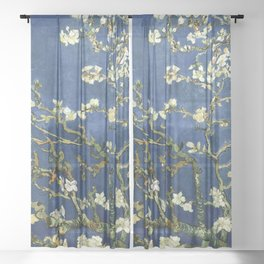 Almond Blossom - Vincent Van Gogh (dark blue) Sheer Curtain
