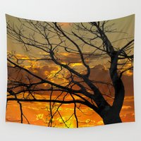 jewish Wall Tapestries featuring Sunset Tree by Brown Eyed Lady
