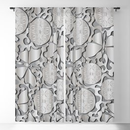 Butterflies and silver abstract pattern on a silver background. Blackout Curtain