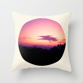 Fuchsia & Purple Sunset Mountains Throw Pillow