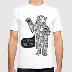 Scary Bear 2 White MEDIUM Mens Fitted Tee