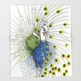 Pavo Real Throw Blanket