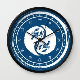 Cancer Yin Yang Fourth Zodiac Sign Wall Clock