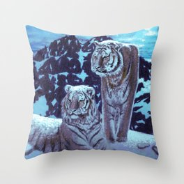 Two bengal tigers in a snowed mountain Throw Pillow