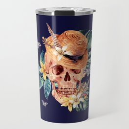 Tropical Latin Skull With Straw Hat Monstera Leaves South American Floral Kingdom Travel Mug