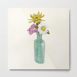 Wildflowers in an Antique Bottle Metal Print