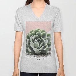 Succulent on Pink Unisex V-Neck