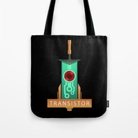 transistor Tote Bags featuring Transistor [2] by Spiritius