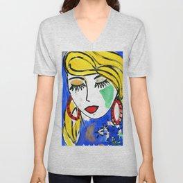Girl Portrait Pop Art Unisex V-Neck