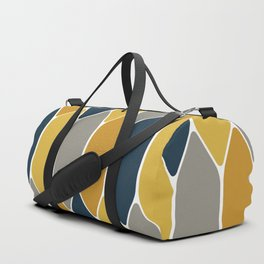 Long Honeycomb Geometric Pattern in Mustard Yellow, Navy Blue, Gray, and White Duffle Bag