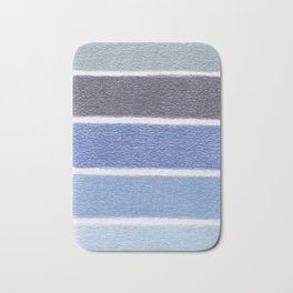 Blues Color Blocks - Color Palette No 1 - Hand Drawn Stripes Bath Mat
