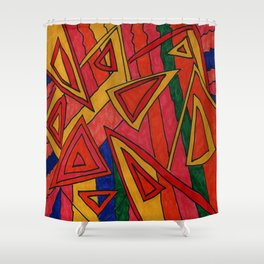 Modern Red Shapes Shower Curtain