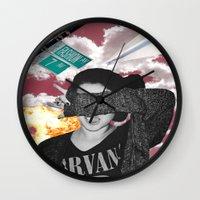 nirvana Wall Clocks featuring Personal Nirvana by LittleCarmine