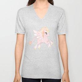 Pastel Pink Winged Unicorn Unisex V-Neck
