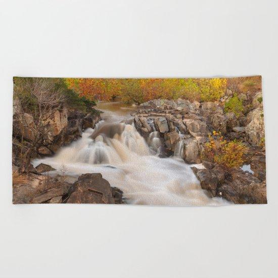 Great Falls Autumn Cascades Beach Towel