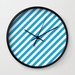 Oktoberfest Bavarian Blue and White Candy Cane Stripes Wall Clock
