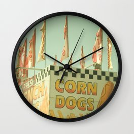 Corn Dogs Carnival Fair Food Corn Dogs & Lemonade Foodie Art Wall Clock