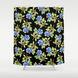 Wild Blueberry Sprigs Shower Curtain
