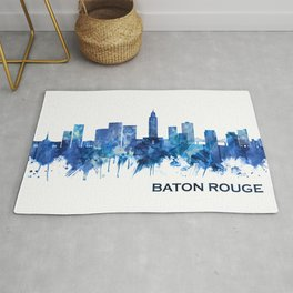 Baton Rouge Louisiana Skyline Blue Rug