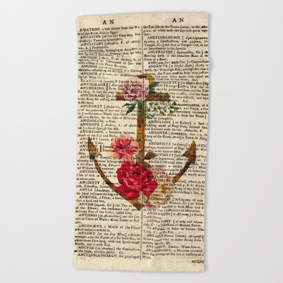 Vintage Anchor with Flowers Dictionary Art Beach Towel
