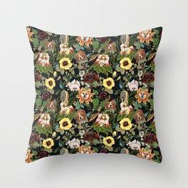 Botanical Puppies Throw Pillow