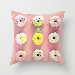 Colorful Donuts Print Pink Background Throw Pillow