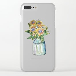 Watercolor Sunflower Vase Clear iPhone Case