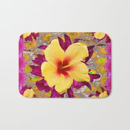 Decorative Golden Yellow Red Tropical Hibiscus Patterns Bath Mat