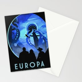 Europa Space Travel Retro Art Stationery Cards