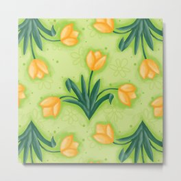 Dutch Tulips in Green Metal Print